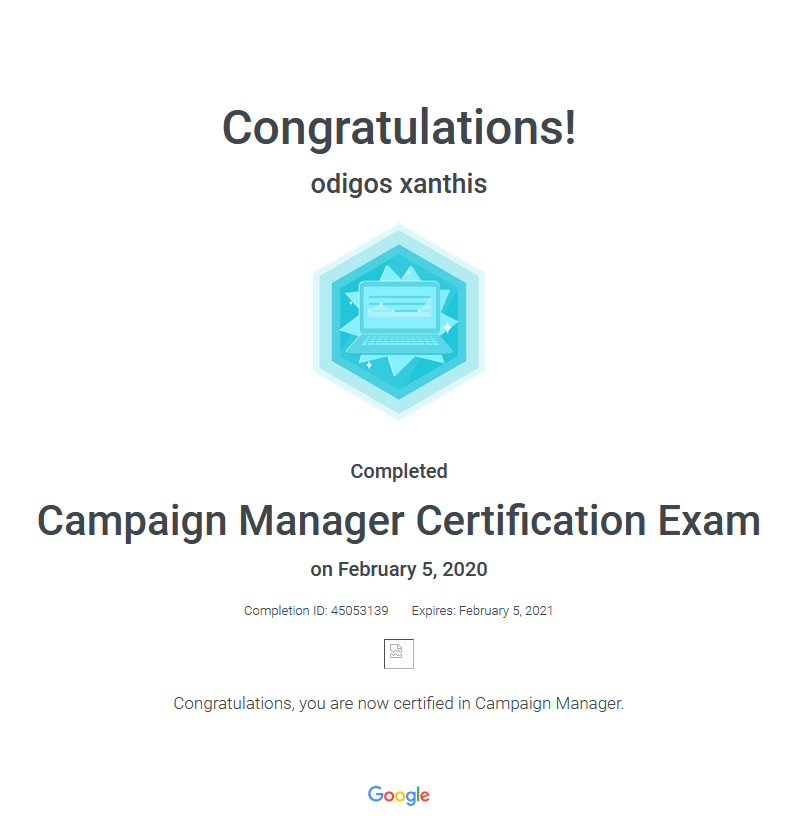 Certification Exam Campaign Manager