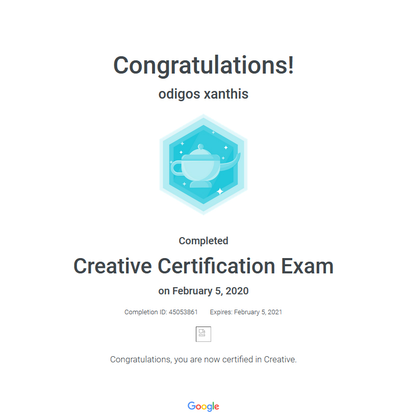 Certification Exam Creative