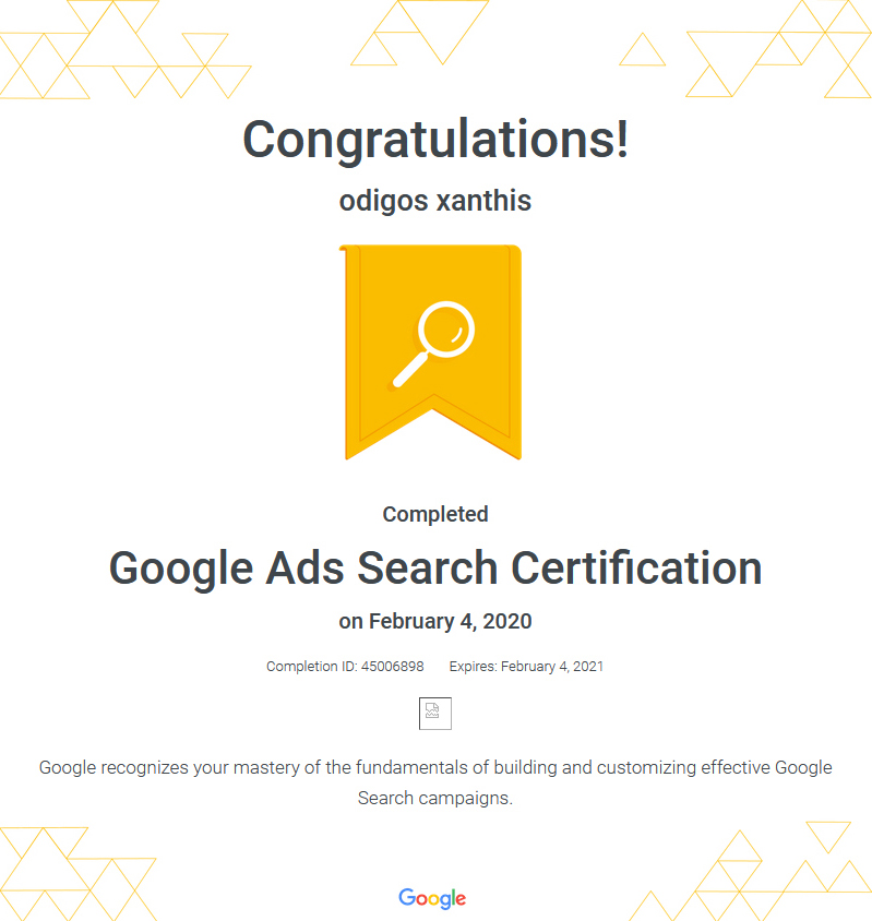 Certification Google Ads Search