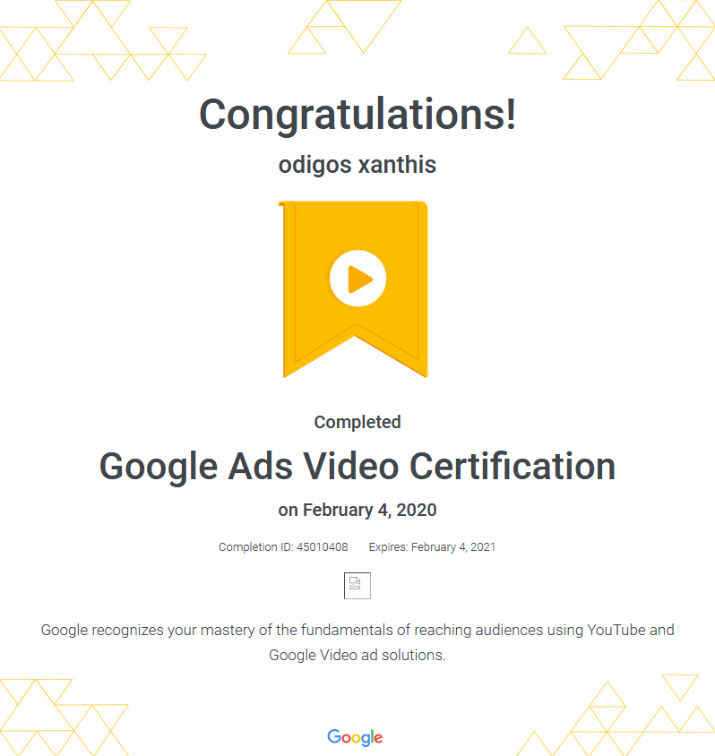 Certification Google Ads Video