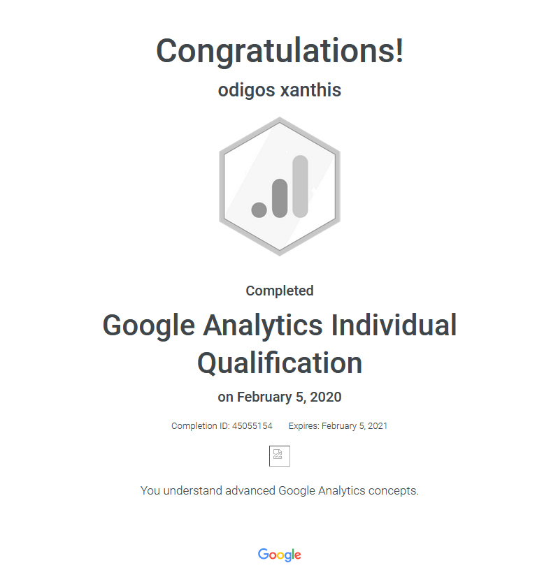 Certification Google Analytics Individual Qualification