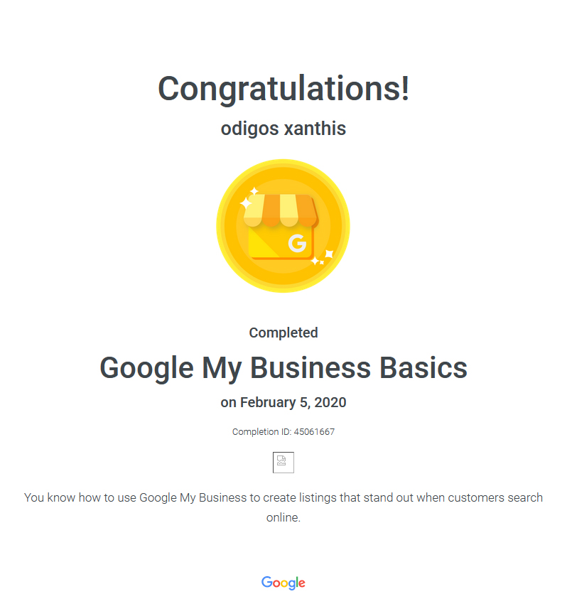 Certification Google My Business Basics