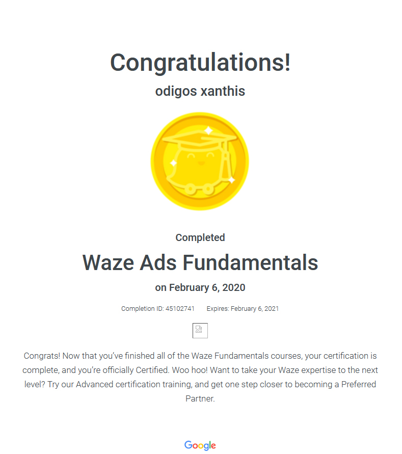 Certification Waze Ads Fundamentals