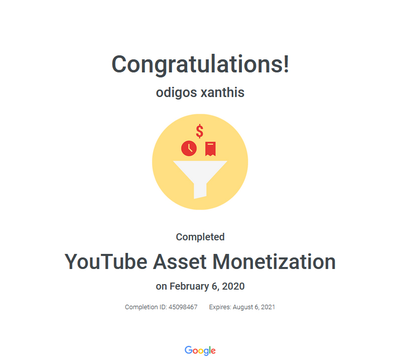 Certification YouTube Aset Monetization