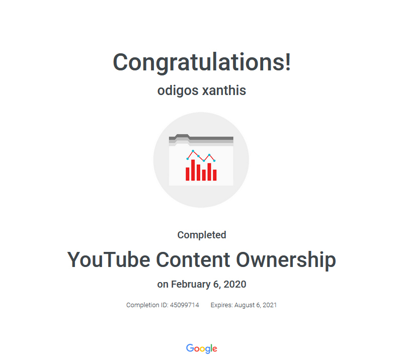 Certification YouTube Content Ownership