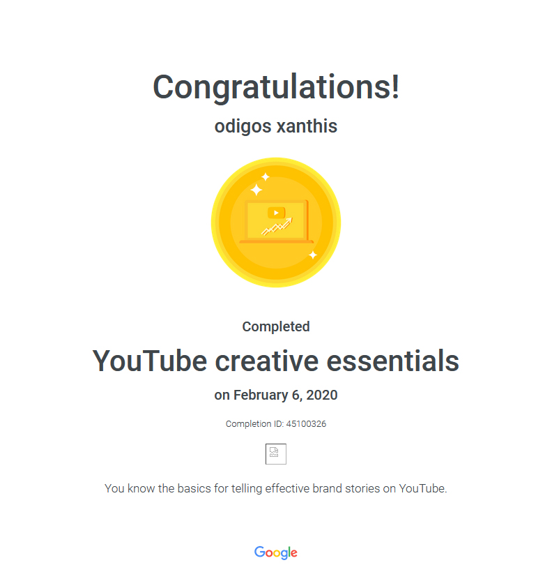Certification YouTube Creative Essentials