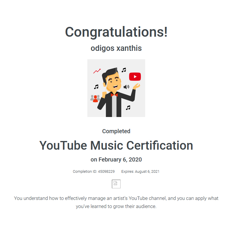 Certification YouTube Music